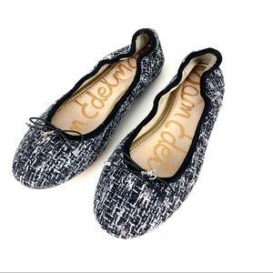 Sam Edelman Flats Ballet Tweed Black White Size 10